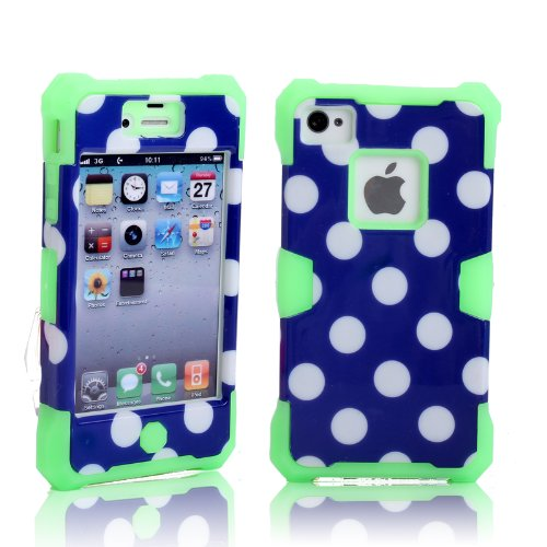 Magicsky Plastic + Silicone Hybrid Polka Dot Pattern Active Glow Case For Apple Iphone 4 4S 4G - 1 Pack - Retail Packaging - Green/Dark Blue