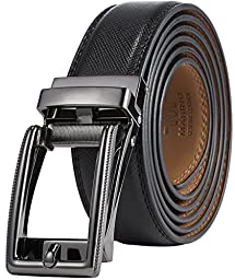 Marino Men\'s Genuine Leather Ratchet Dress Belt with Open Linxx Buckle, Enclosed in an Elegant Gift Box - Gunblack Silver Square Open Buckle W/Black Leather - Custom: Up to 44\