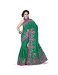 EthnicCrush Green Manipuri Silk & Dupian Saree