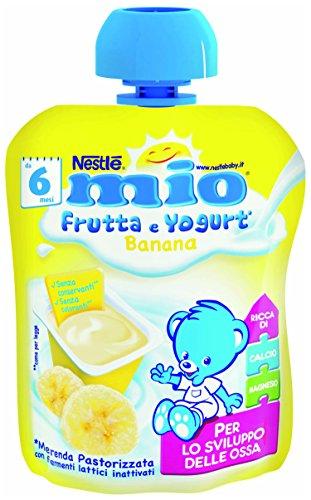Nestlé Mio Merenda Frutta e Yogurt da Spremere Banana senza Glutine da 6 Mesi, 90ml
