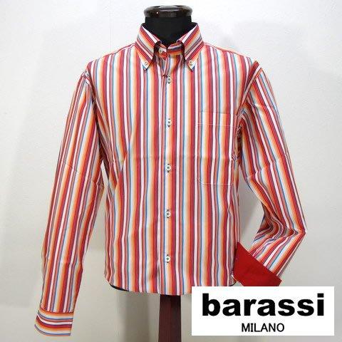 2618 日本製 綺麗な色の 長袖 ボタンダウン シャツ 男性 紳士服 メンズ barassi MILANO (バラシ) オレンジ レインボー L