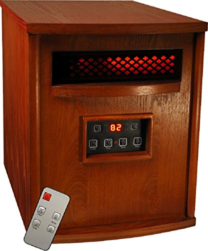 B00QWNR6RY TW1500 Electric Portable 1500 Watt Infrared Heater with Remote Control – Cherry