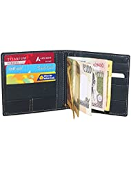 Style98 Men And Women Leather Credit Card Holder & Money Clip Wallet Navy 33228DM6