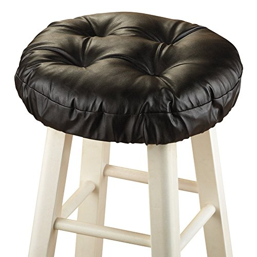 Padded Barstool Seat Cover Cushion, Black (Bar Stool Covers Round Cushion compare prices)
