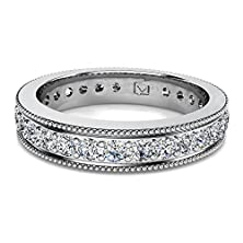 buy Platinum Sparkling Common-Prong Wedding Band With Delicate Milgrain Detailing Accentuating Round Brilliant Cut Diamonds 3/4 Ctw Near-Colorless Color Si1-Si2 Clarity