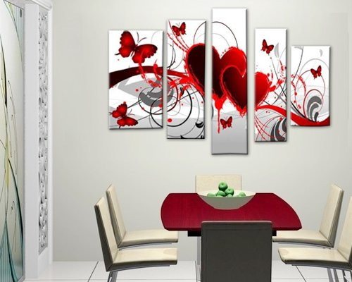 Cherish art hand painted oil painting gift red love 5 for What kind of paint to use on kitchen cabinets for ready to hang canvas wall art