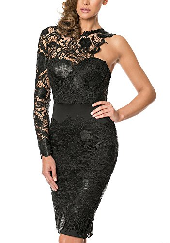 Snow Lotus Women's Black One Shoulder Lace Cocktail Party Dress Knee Length (14)