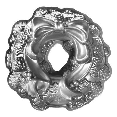 Nordicware Seasonal Holiday Wreath Bundt Pan in Grey (Cast Aluminum Bundt Cake Pan compare prices)