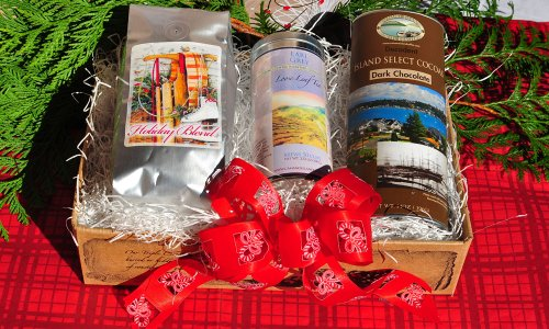 Camano Island Coffee Roasters Organic Shade Grown Fairly Traded Cozy Winter Box - Coffee Gift Box (1 12oz Gift Bag of Coffee and One Tin of Gourmet Tea with Our Delicious Dark Hot Chocolate Mix)