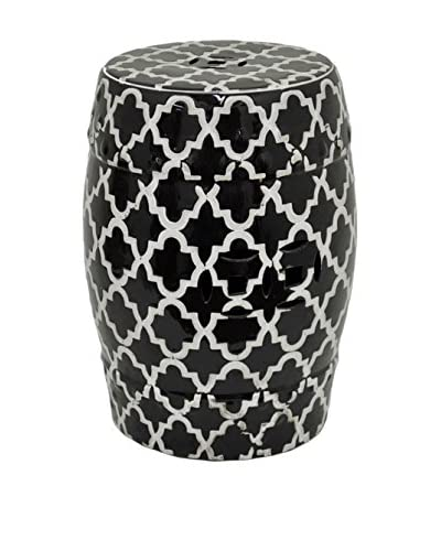 Three Hands Marrakesh Ceramic Stool, Black/White