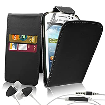 Excellent Accessories® Samsung Galaxy Fame S6810 - Premium Quality Exclusive Leather Easy Clip On WALLET / FLIP Case / Cover / Pouch With Card Holders + Free Clear Screen Protector + Polishing Cloth + Free In Ear Headphones Headset With Build In Microphone