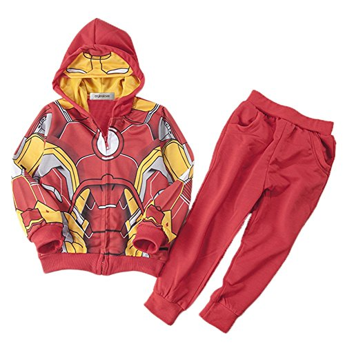 [StylesILove Super Hero 2PC Costume Hoodie Jacket and Pants (3-4 Years, Iron Man)] (Iron Man 3 Costumes Kids)