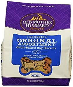 Old Mother Hubbard Crunchy Classic Snacks for Dogs, Mini, Original Assortment, 3-Pound and 13-Ounce Bag