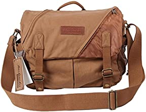 Wawooreg Professional Camera Bag with 12 inch Insert Bag Vintage Canvas Messenger Bag 13quotx5quotx1