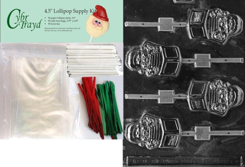 Cybrtrayd 45stK50C-C101 Jack in Box Pop Christmas Chocolate Mold with Lollipop Kit and Molding Instructions, Includes 50 Lollipop Sticks, 50 Cello Bags, 25 Red and 25 Green Twist Ties