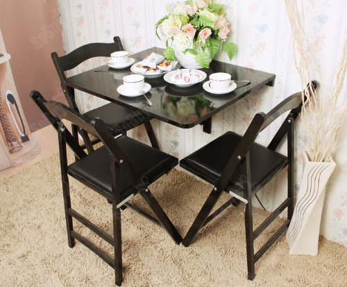 sobuy wandklapptisch klapptisch holztisch esstisch aus holz 75x60cm schwarz fwt01 sch com. Black Bedroom Furniture Sets. Home Design Ideas