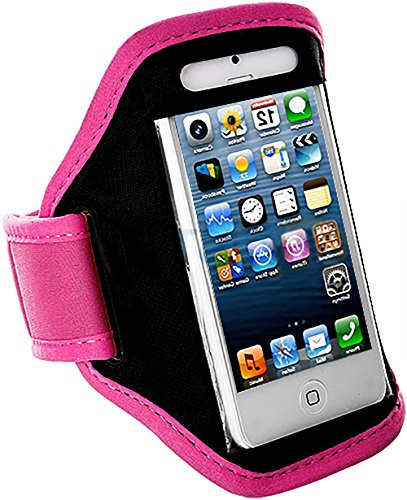 myLife Hot Pink and Shadow Black {Rain Resistant Velcro Secure Running Armband} Dual-Fit Jogging Arm Strap Holder for iPhone 5|5S|5C and iPod 5 (5G) 5th Generation by Apple All Ports Accessible waterproof bag pouch w armband neck strap for iphone 5 5c translucent blue black