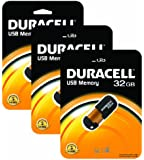 Duracell 32GB Capless USB Memory Drive (Pack of 3)