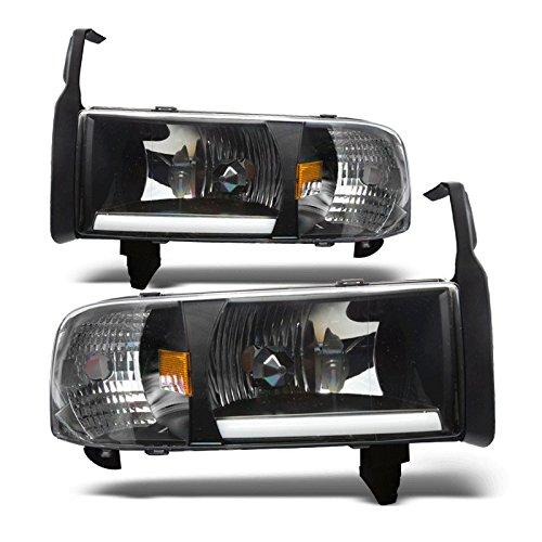 Starr Lite 94-01 Dodge Ram 1500 / 94-02 Dodge Ram 2500 / 94-02 Dodge Ram 3500 Light Bar Drl Head Lights - (Black / Clear)