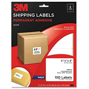 3m permanent adhesive shipping labels x 4 inches white 150 per pack 3200 u. Black Bedroom Furniture Sets. Home Design Ideas