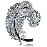 Silver Tone Clear Crystal Rhinestone Faux Pearl Bead Feather Pin Brooch