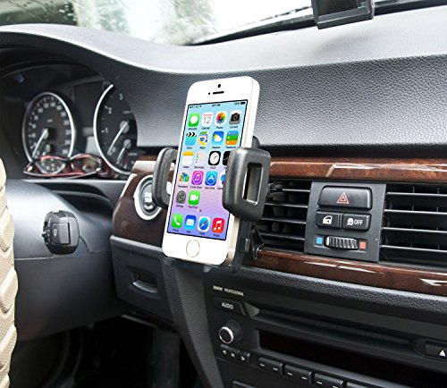 IBRA® Dedicated Air Vent Car Holder Mount Black Vehicle Louvers Phone Cradle Mount For Apple Iphone 6 / 6 Plus / 5 / 4 / 4s / 3G / 3 and IPOD series 2015 Model