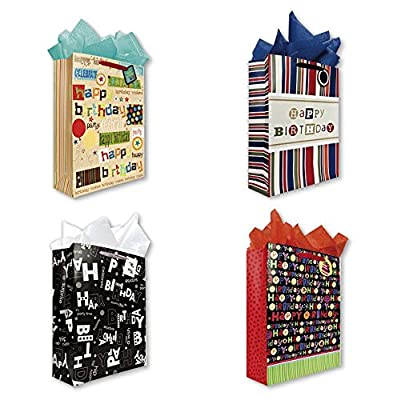 All Occasion Birthday Party Gift Bags Set of 4 Extra Large Jumbo Gift Bags w/ Wonderful Designs, Sentiments, Tags, and Tissue Paper for Men, Women, Kids, Boys, and Girls
