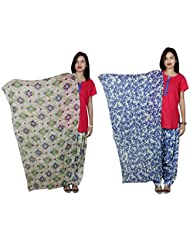 Indistar Women's Cotton Patiala Salwar With Dupatta Combo (Pack Of 2 Salwar With Dupatta) - B01HROQFGE