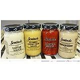 Seminole 4 pack seafood sauces, Florida Stone crab sauce, Tartar sauce, Cocktail Sauce, Horseradish Sauce