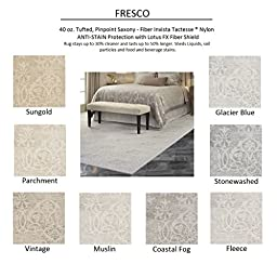 2\'x3\' Coastal Fog - FRESCO - Custom Carpet Area Rug - 40 Oz. Tufted, Pinpoint Saxony - Nylon by Milliken (8 Colors to Choose From)