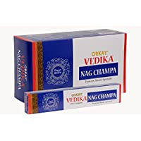 Orkay Vedika Nag Champa 12 Pkt Of 15gm Each (contains 180 Incense Sticks / Natural Agarbatti) With Free Wooden...