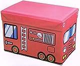 【 消防車 の 座れる 収納 ケース 兼 折りたたみ 式 スツール 】 収納 ボックス 椅子 イス いす 幼児 子供