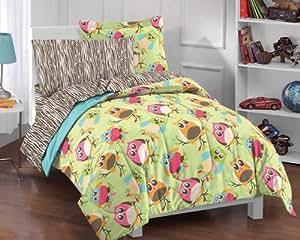 Bright Multicolored Cartoon Hoot Owls Comforter Set