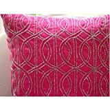 Fuchsia N Silver - 26x26 inches Square Decorative Throw Fuchsia Pink Silk Euro Sham Covers Embellished with Beads & Sequins