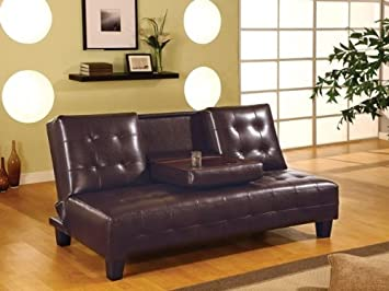 Sofa Beds Armless Convertible Sofa Bed with Drop Down Console by Coaster