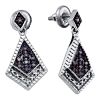 0.19CTW COGNAC DIAMOND LADIES MICRO PAVE EARRINGS