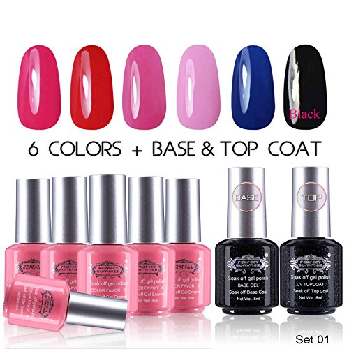 Perfect-Summer-UV-LED-Soak-Off-Gel-Nail-Polish-with-Clear-Base-Coat-and-Top-Coat-Gel-Starter-Kit-Pack-of-8-8ml-Each-set-01