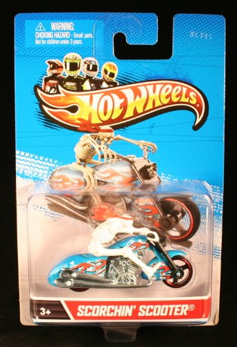 SCORCHIN' SCOOTER * MOTORCYCLE & RIDER * Hot Wheels 1:64 Scale 2012 Die-Cast Vehicle