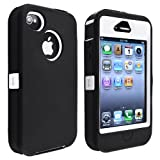 eForCity Hybrid Case compatible with Apple® Iphone® 4/ 4S, White Hard/ Black Skin