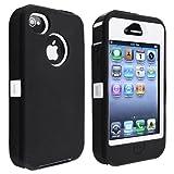 eForCity Hybrid Case compatible with Apple® Iphone® 4/ 4S, White Hard/ Black Skin