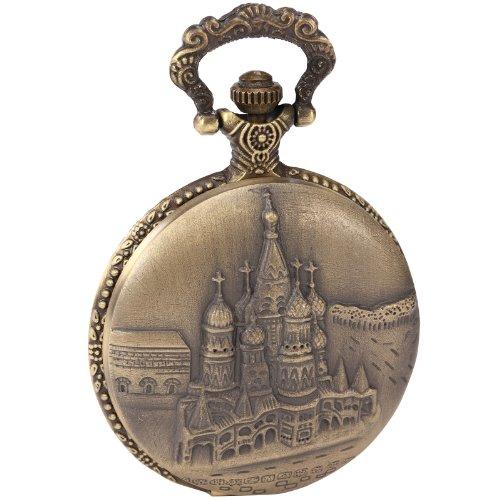 AMPM24 Russland Kreml Taschenuhr Bronze Analog Quarz Uhr Ketteuhr Unisex