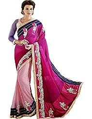 Dark Light Pink Wedding Wear Saree Embroidery Work Faux Georgette Net Sari