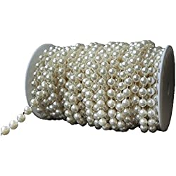 KLAREN 10 mm Large Ivory Pearls Faux Crystal Beads by the Roll for Flowers Wedding Party Decoration