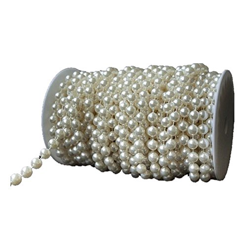 KLAREN 2016 22 Yards 10 mm Large Ivory Pearls Faux Crystal Beads by the Roll for Wedding Party Decoration 20m Length (Crystal Heart Garland compare prices)