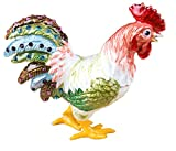 Bejeweled Rhinestone Crystal Enamel Trinket Box Cute Rooster Chicken for Desk Decoration