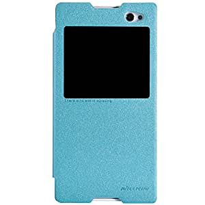 NILLKIN SPARKLE LEATHER FLIP CASE FOR SONY XPERIA C3-S55T-BLUE