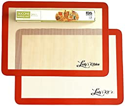 Ludy\'s Kitchen 2-Pc Silicone Baking Mats - Professional Grade Cookie Sheets - Replaces Parchment Paper - Great Gift Ideas - Non-Stick, Durable, & Reusable Silicone Bakeware