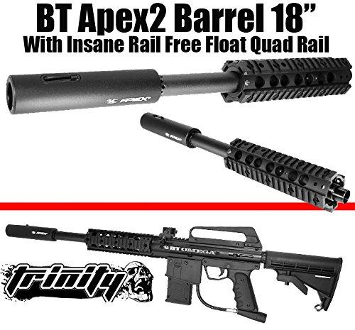 "Bt Apex2 Barrel 18"" With Trinity Insane Free Float Quad Rail For Bt Omega Paintball Gun, Bt Slice, Bt Combat, Bt Delta, Bt Delta Elite, Bt4, Tippmann A5, Tippmann A-5, Tippmann X7, Tippmann X-7, Tippmann Phenom Paintball Gun Barrel, Tactical Paintball, Wo"