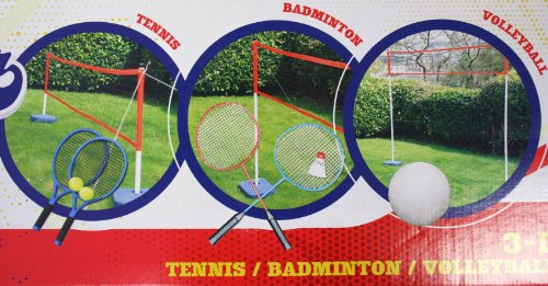 CHILDRENS KIDS 3-IN-1 SPORTS SET - BADMINTON, TENNIS & VOLLEYBALL