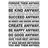 (24x36) Mother Teresa Anyway Quote Motivational Poster